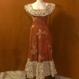 VINTAGE 60s 70s Bohemian Patchwork Prairie Dress